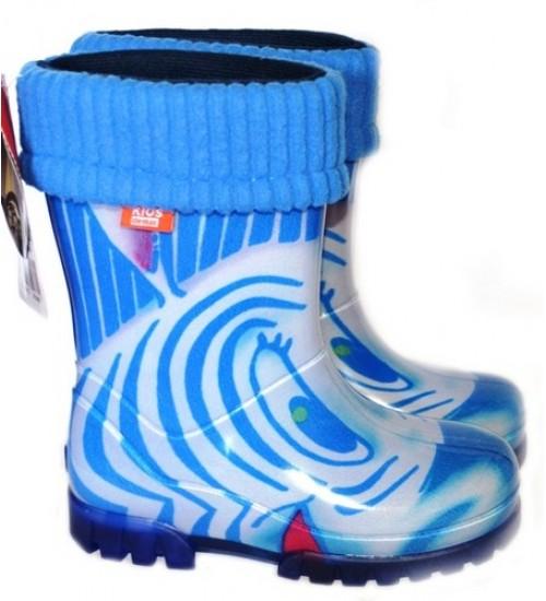 Детские резиновые сапоги - DEMAR TWISTER LUX PRINT-hh 0038, Зебра синяя