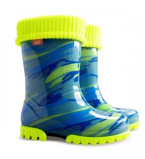 Детские резиновые сапоги - DEMAR TWISTER FLUO-d 0035, Мозайка голубо-желтые