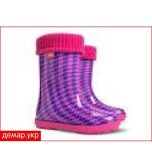 Детские резиновые сапоги - DEMAR HAWAI LUX PRINT-hf 0049, Пепита розовая